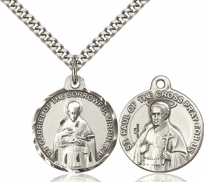 Bliss St Gabriel of the Blessed Virgin and St Paul of the Cross Medal Necklace