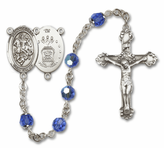 Bliss St George Air Force Sterling and Gold Swarovski Crystal Rosaries - More Options