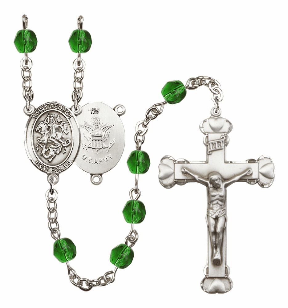 Bliss Mfg St George Army Heart Birthstone Crystal Rosary  - More Colors