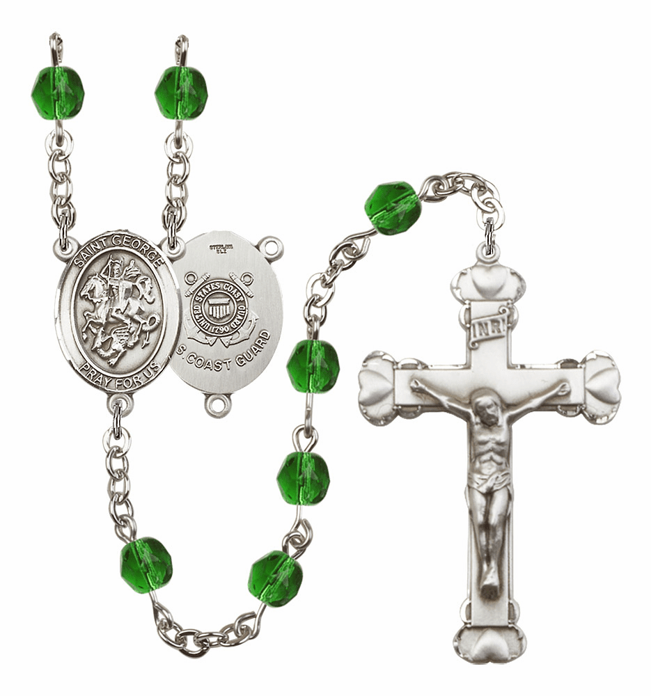 Bliss Mfg St George Coast Guard Heart Birthstone Crystal Rosary  - More Colors