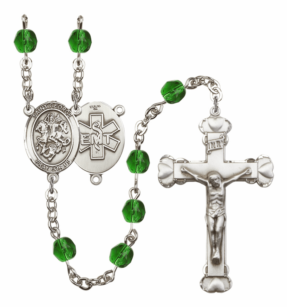 "Bliss Mfg St George EMT Heart Birthstone Crystal Prayer Rosary  - ""More Colors"""
