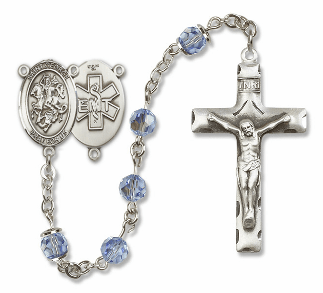 "Bliss Mfg St George EMT Sterling Silver Patron Saint  Swarovski Crystal Rosary - ""More Options"""
