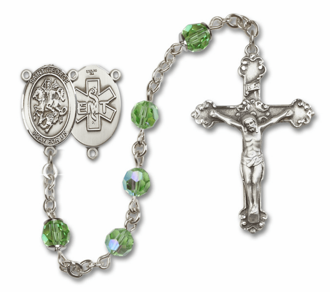 "Bliss Mfg St George EMT Swarovski Crystal Sterling Silver Catholic Saint Rosary - ""More Options"""