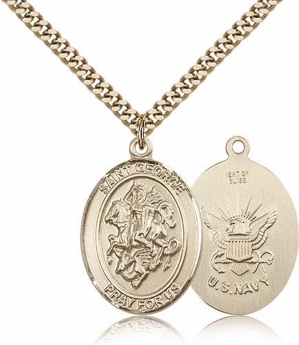 Bliss Mfg St George Military Navy 14kt Gold Filled Pendant Necklace