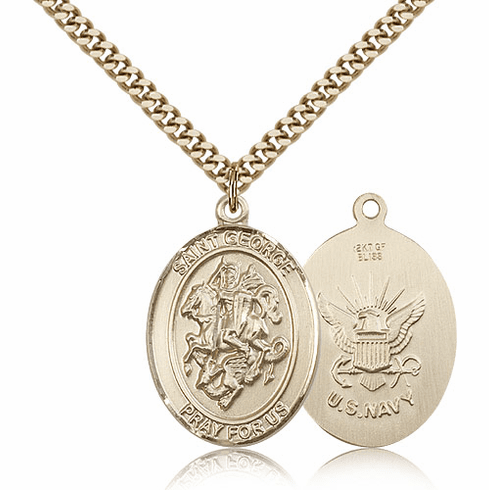Bliss St George Military Navy 14kt Gold Filled Pendant Necklace