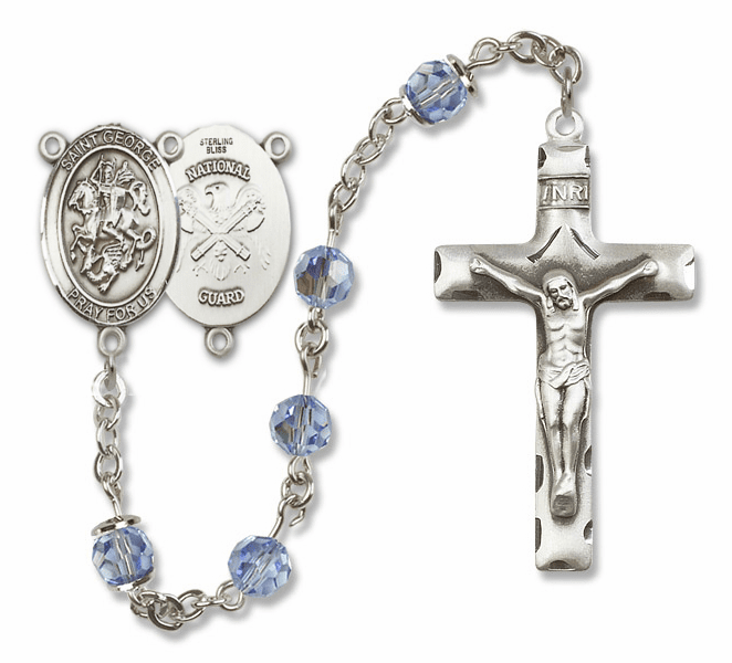 "Bliss Mfg St George National Guard Sterling Silver Patron Saint  Swarovski Crystal Rosary - ""More Options"""