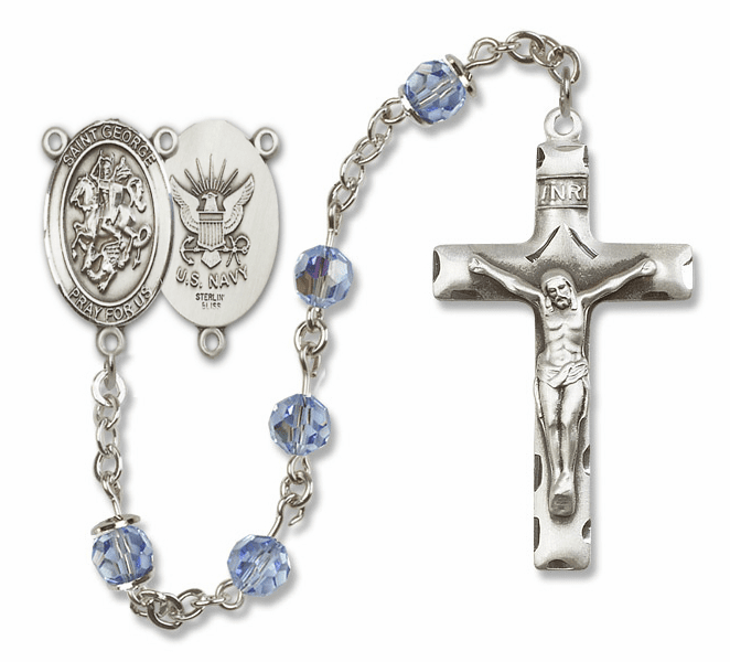 "Bliss Mfg St George Navy Sterling Silver Patron Saint  Swarovski Crystal Rosary - ""More Options"""