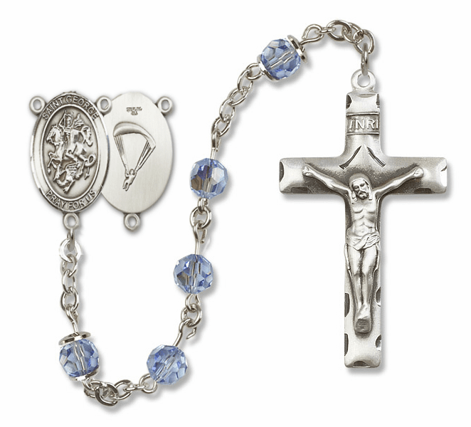 "Bliss Mfg St George Paratrooper Sterling Silver Patron Saint  Swarovski Crystal Rosary - ""More Options"""