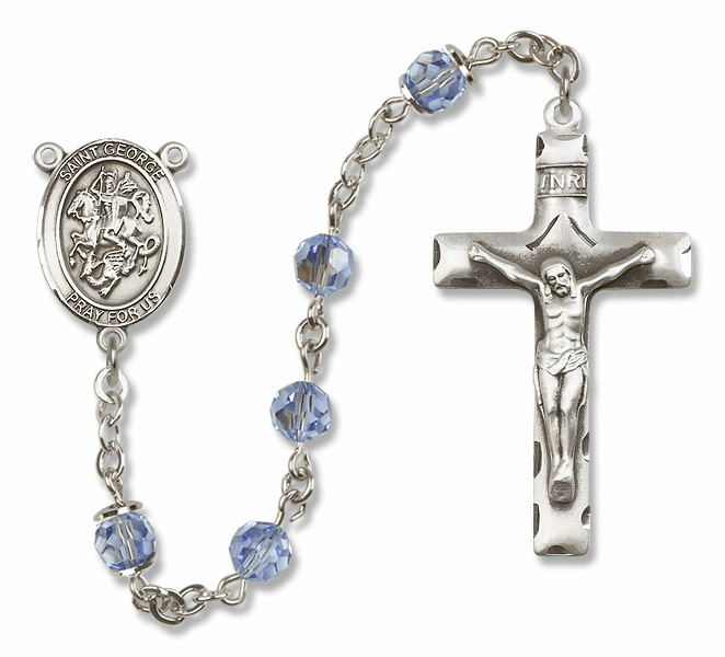 "Bliss Mfg St George Sterling Silver Patron Saint  Swarovski Crystal Rosary - ""More Options"""