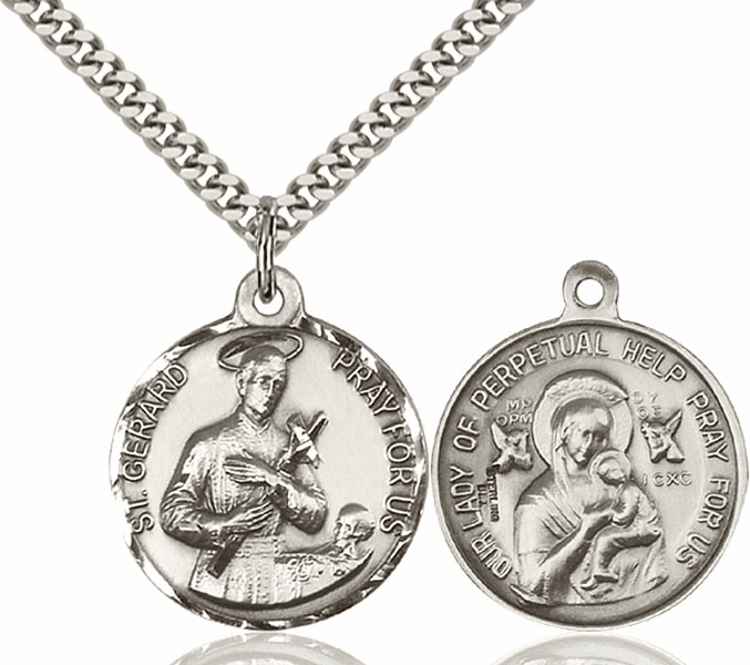 Bliss Mfg St Gerard and Our Lady of Perpetual Help Sterling Medal Necklace