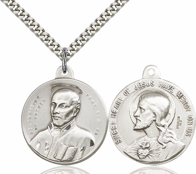 Bliss Mfg St Ignatius and Sacred Heart of Jesus Sterling Medal Necklace