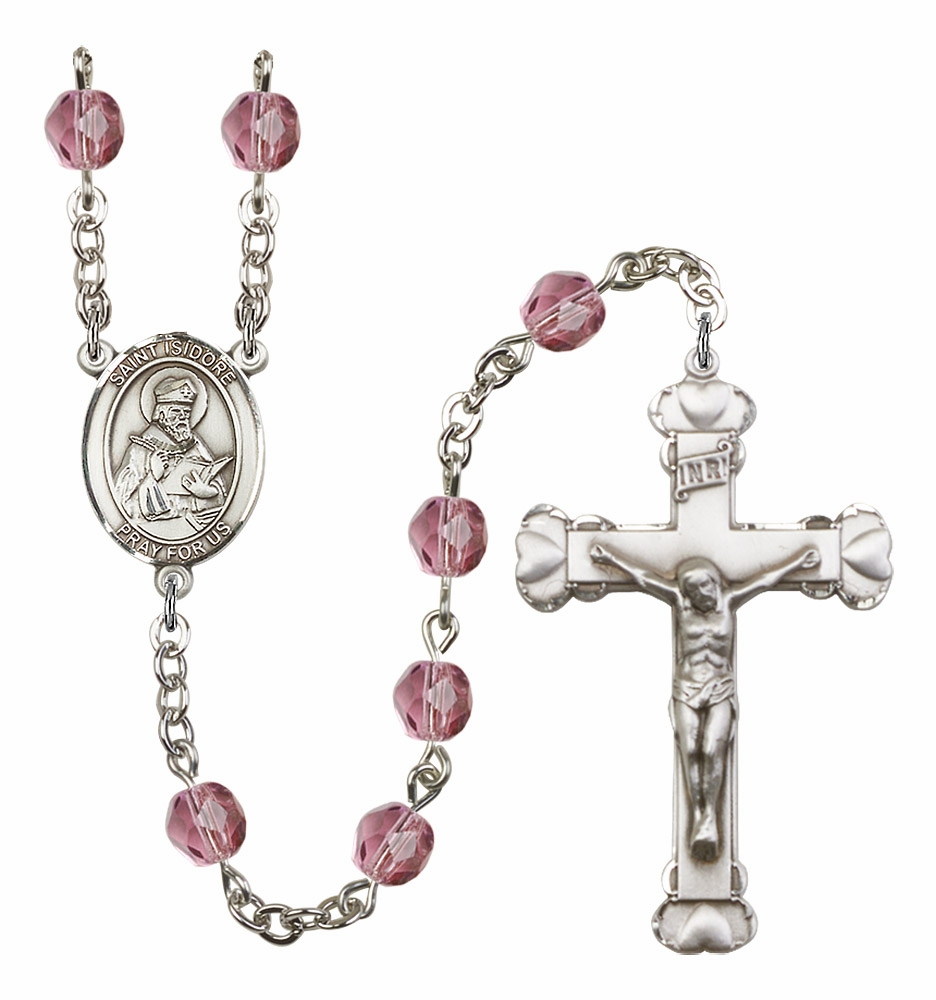 Bliss Mfg St Isidore of Seville Birthstone Heart Rosary - More Colors