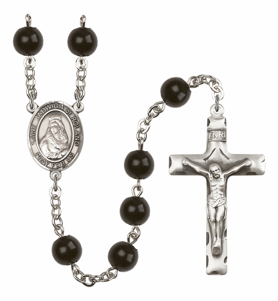 Bliss Mfg St Jadwiga of Poland 7mm Black Onyx Rosary