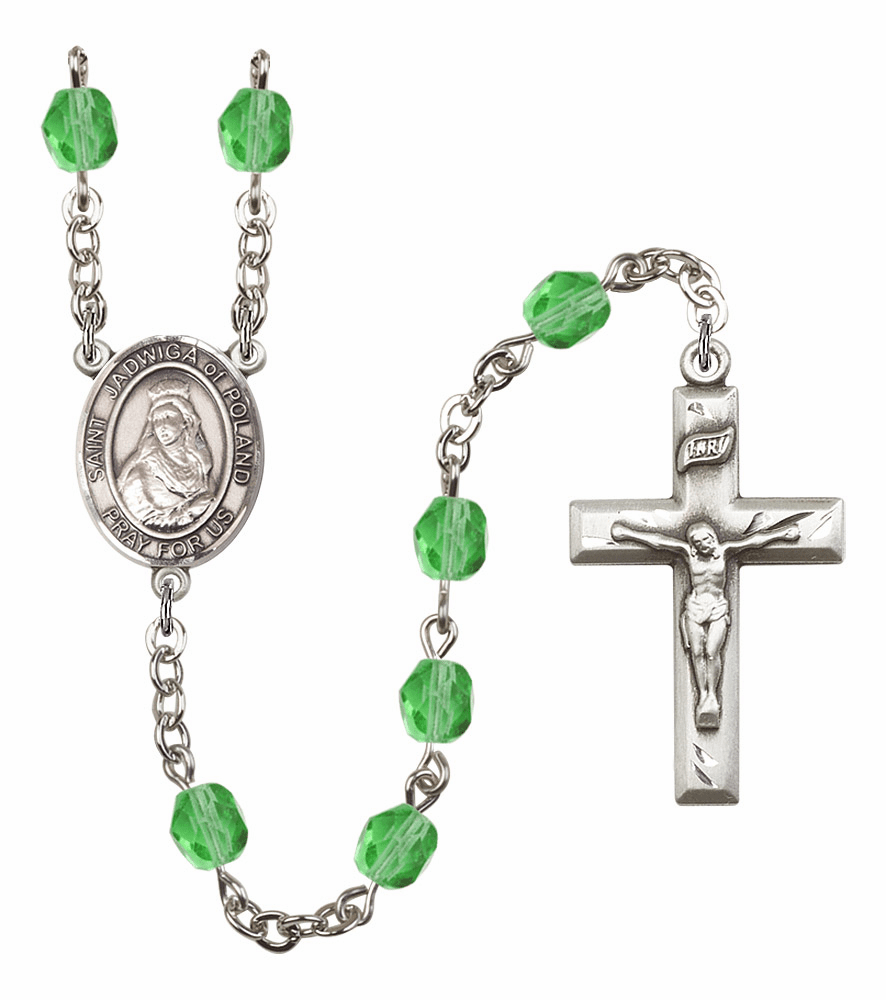 Bliss Mfg St Jadwiga of Poland August Peridot Birthstone Rosary