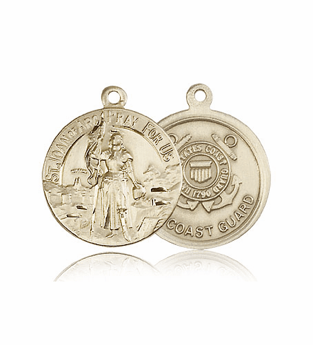 Bliss Mfg St Joan of Arc 14kt Gold US Coast Guard Military Patron Saint Medal Pendant