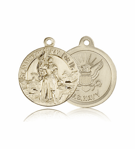 Bliss Mfg St Joan of Arc 14kt Gold US Navy Military Patron Saint Medal Pendant