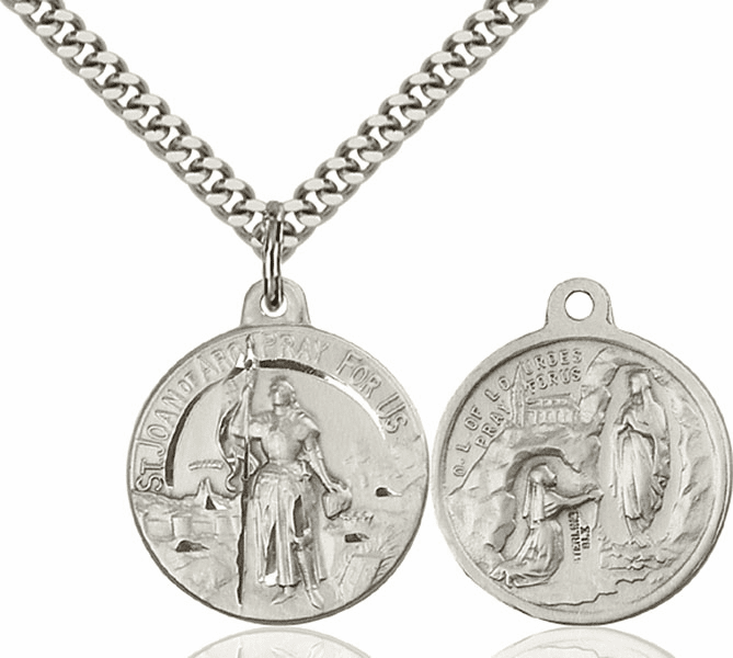 Bliss St Joan of Arc and O/L of Lourdes Medal Necklace
