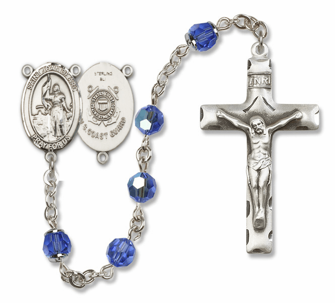 Bliss Mfg St Joan of Arc Coast Guard Military Sterling Silver Sapphire Swarovski Rosary