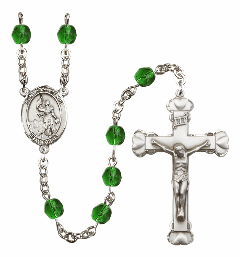Bliss Mfg St Joan of Arc May Emerald Birthstone Heart Rosary