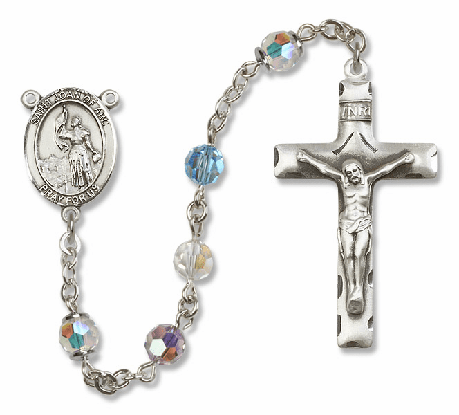 Bliss Mfg St Joan of Arc Sterling Silver Multi-Color Swarovski Rosary