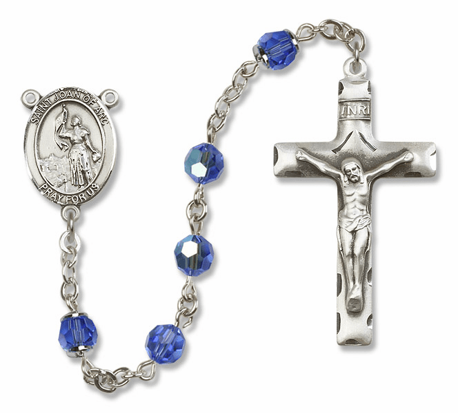 Bliss Mfg St Joan of Arc Sterling Silver Sapphire Swarovski Rosary
