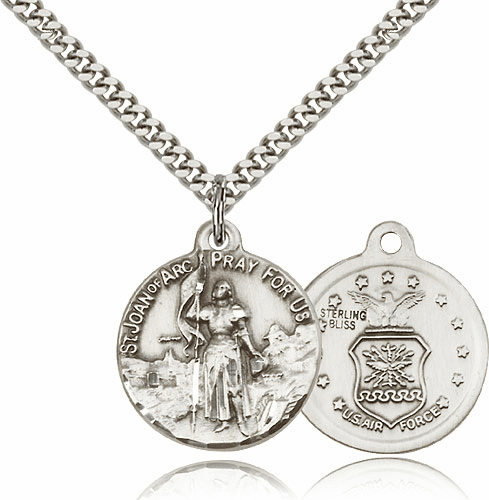 Bliss Mfg St Joan of Arc US Air Force Sterling Silver Military Patron Saint Medal Necklace