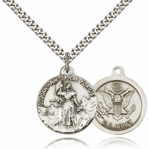 Bliss Mfg St Joan of Arc US Army Sterling Silver Military Patron Saint Medal Necklace