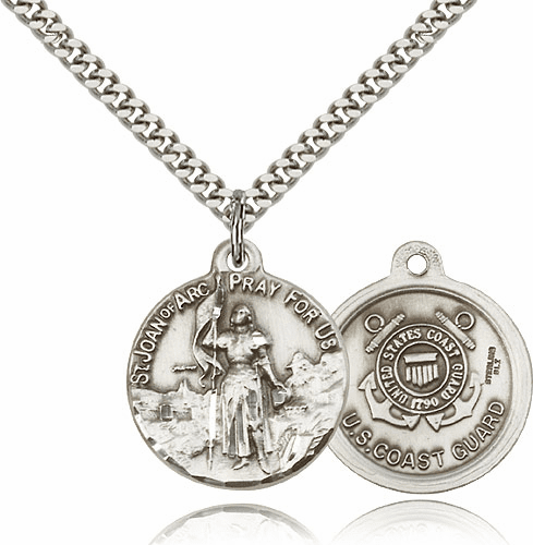 Bliss Mfg St Joan of Arc US Coast Guard Sterling Silver Military Patron Saint Medal Necklace