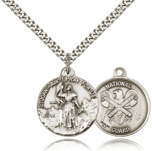 Bliss Mfg St Joan of Arc US National Guard Silver-filled Military Patron Saint Medal Necklace