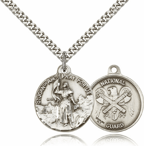 Bliss Mfg St Joan of Arc US National Guard Sterling Silver Military Patron Saint Medal Necklace