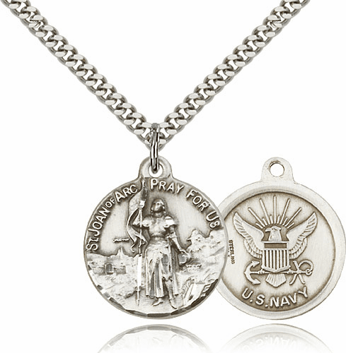 Bliss Mfg St Joan of Arc US Navy Sterling Silver Military Patron Saint Medal Necklace
