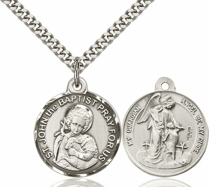 Bliss Mfg St John the Baptist St and Guardian Angel Sterling Medal Necklace