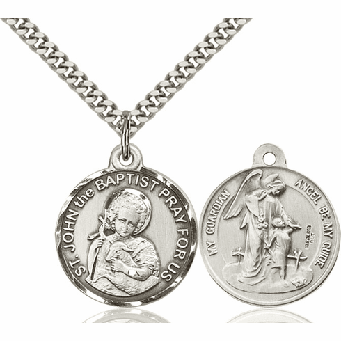 Bliss St John the Baptist St and Guardian Angel Medal Necklace