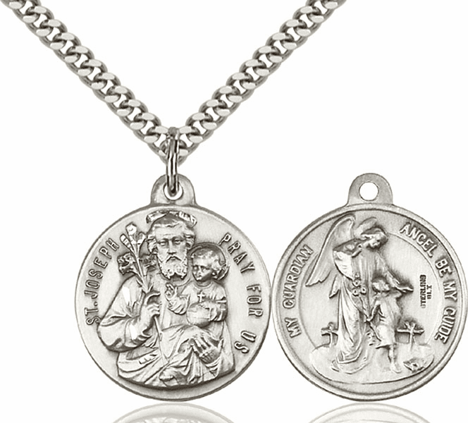 Bliss Mfg St Joseph and Guardian Angel Sterling Medal Necklace