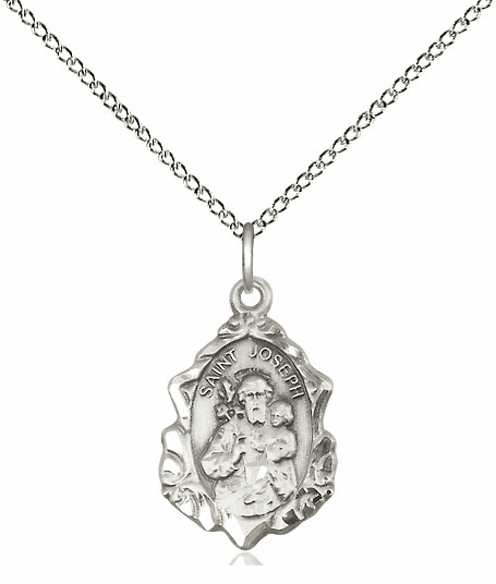Bliss Mfg St Joseph Sterling Silver Medal Pendant Necklace