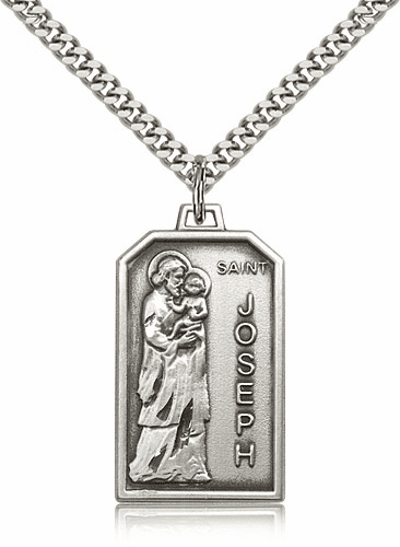 Bliss Mfg. St Joseph Sterling Silver Patron Saint Medal Necklace