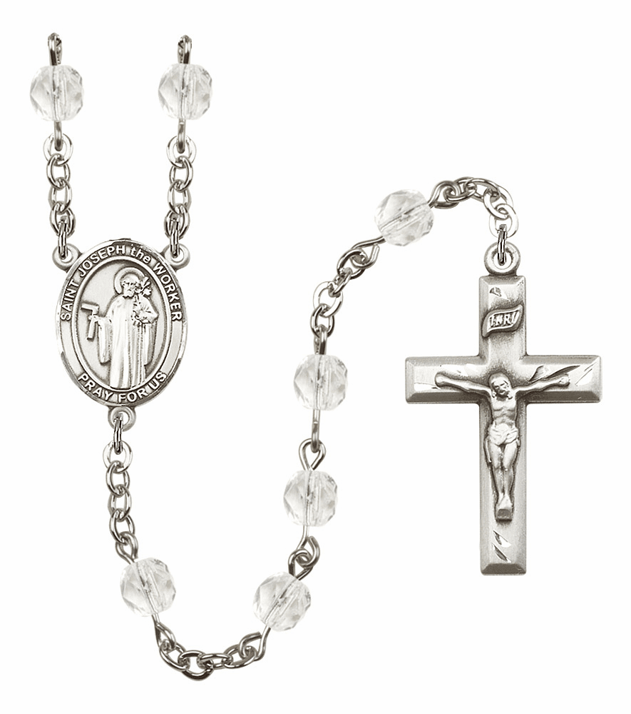 Bliss Mfg St Joseph the Worker April - Crystal Birthstone Rosary