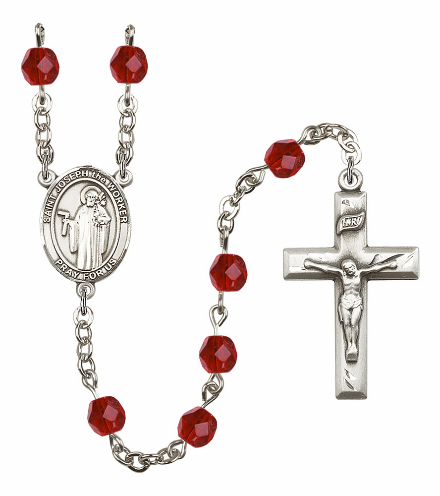 Bliss Mfg St Joseph the Worker July Ruby Birthstone Rosary