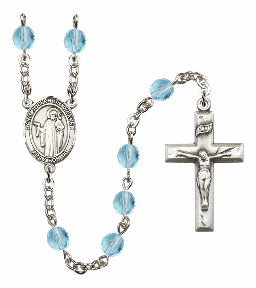 Bliss Mfg St Joseph the Worker March Aqua Birthstone Rosary