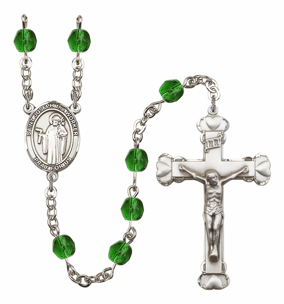 Bliss Mfg St Joseph the Worker May Emerald Birthstone Heart Rosary