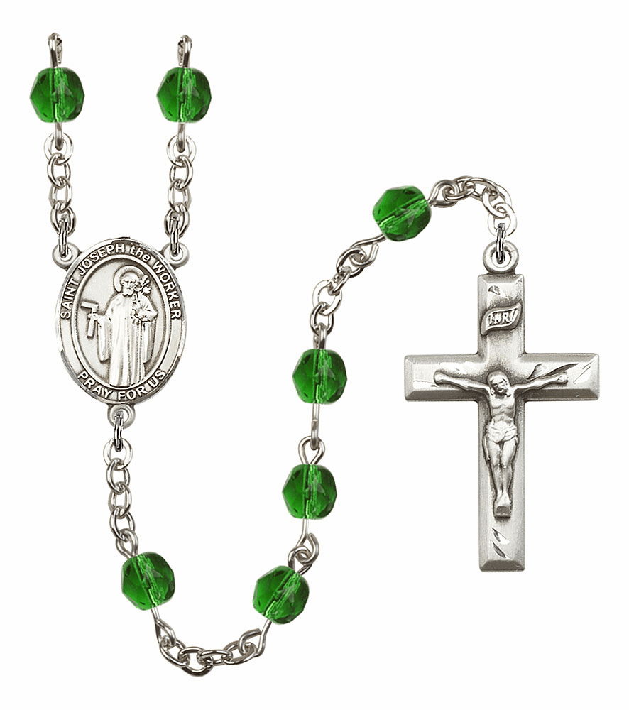 Bliss Mfg St Joseph the Worker May Emerald Birthstone Rosary