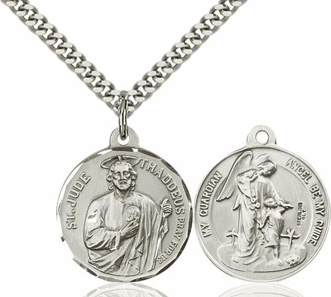 Bliss St Jude and Guardian Angel Medal Necklace