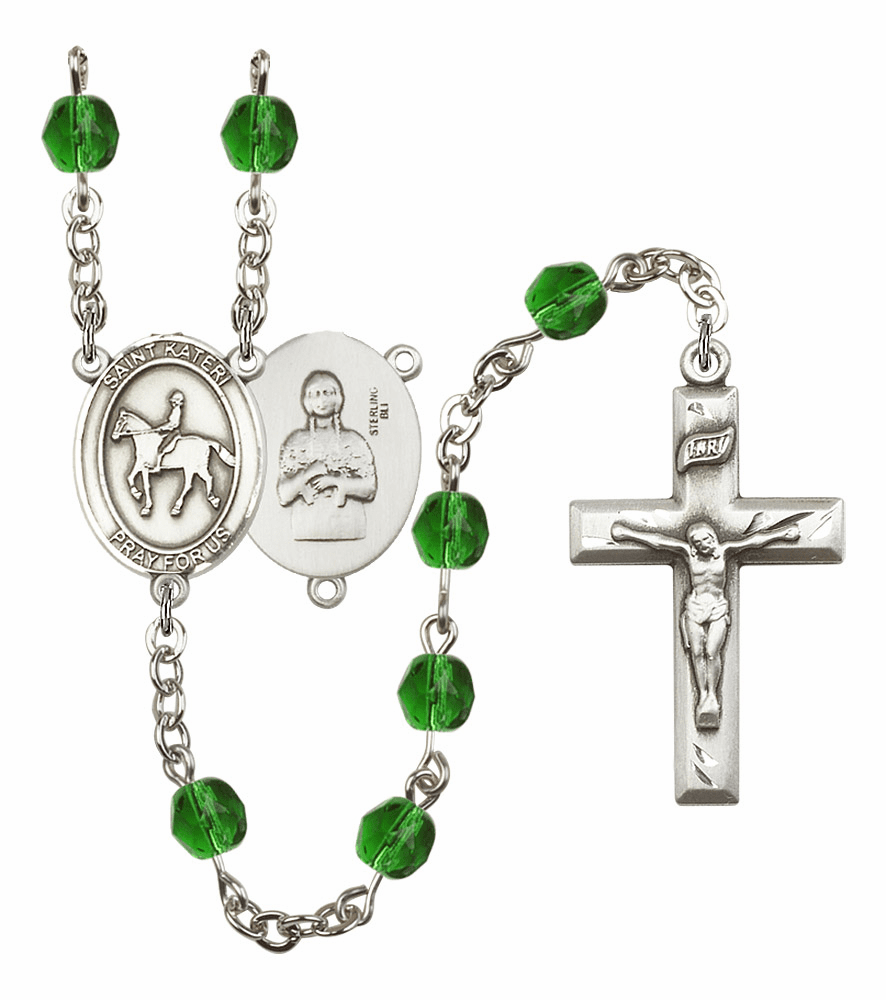 "Bliss Mfg St Kateri Equestrian Birthstone Crystal Prayer Rosary  - ""More Colors"""