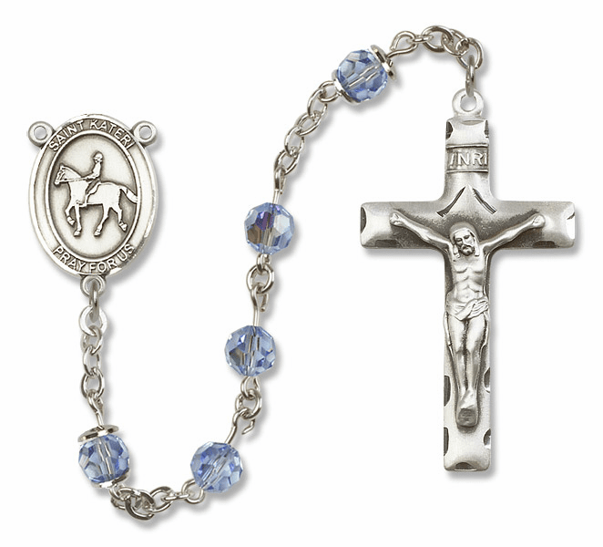 "Bliss Mfg St Kateri Equestrian Sterling Silver Patron Saint  Swarovski Crystal Rosary - ""More Options"""