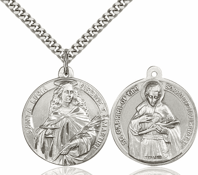 Bliss Mfg St Lucia and St Gabriel of the Blessed Virgin Sterling Medal Necklace