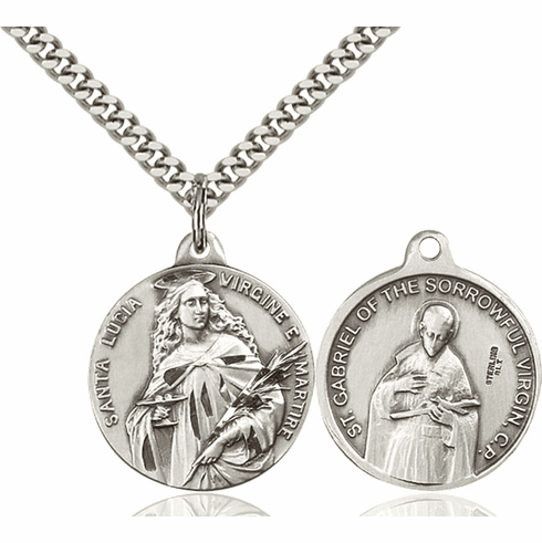 Bliss St Lucia and St Gabriel of the Blessed Virgin Medal Necklace