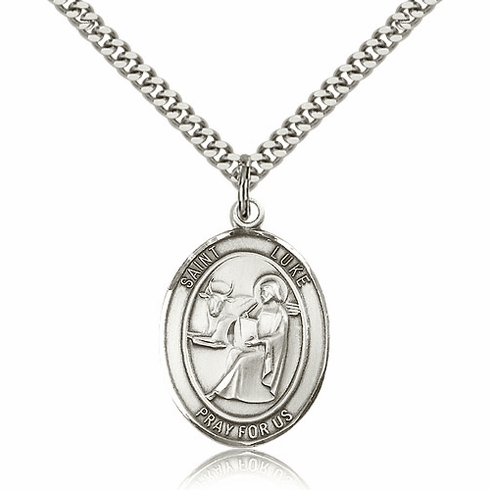 St Luke Pewter Patron Saint Necklace by Bliss
