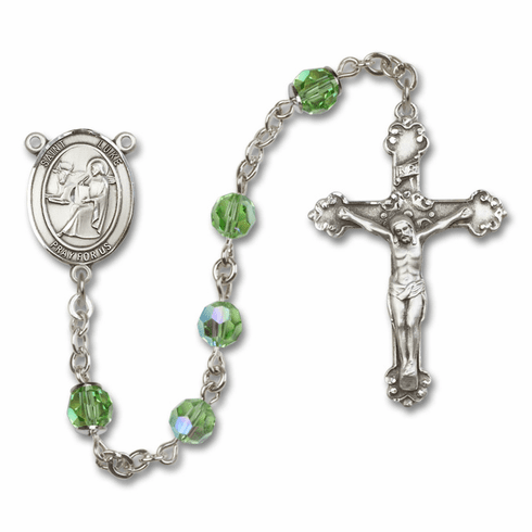 "Bliss Mfg St Luke Swarovski Crystal Sterling Silver Catholic Saint Rosary - ""More Options"""