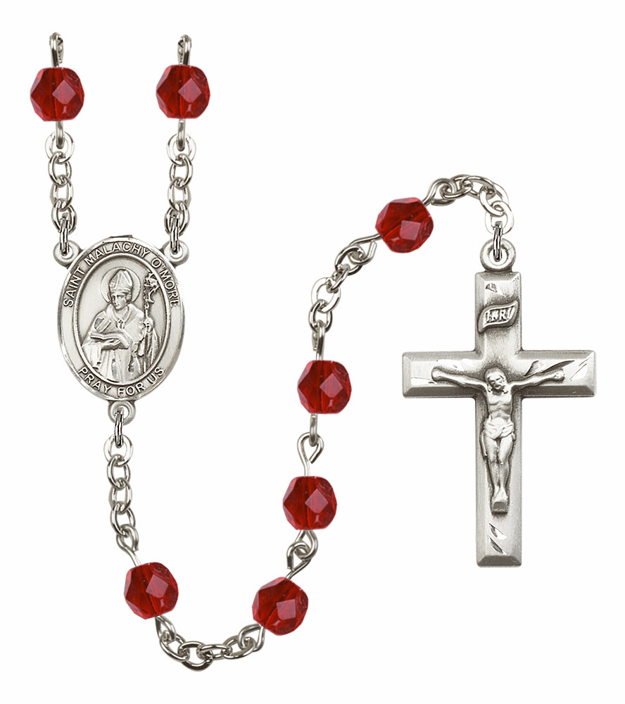 Bliss Mfg St Malachy O'More July Ruby Birthstone Rosary