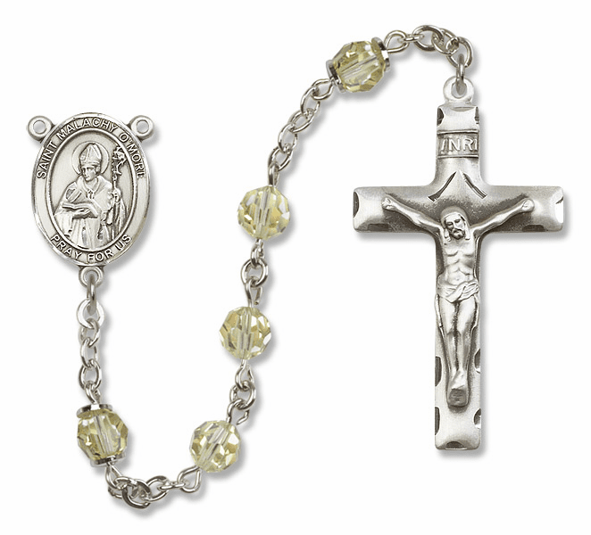 Bliss Mfg St Malachy O'More Sterling Silver Jonquil Swarovski Rosary